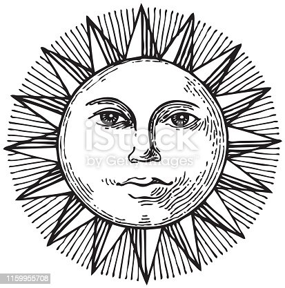 Black and white hand drawn sun with face. Can be used as tattoo, t-shirts design, coloring book. Black and white graphics, pencil drawing.