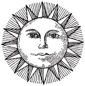Black and white hand drawn sun with face