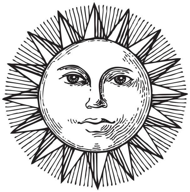 schwarz und weiß handgezeichnete sonne mit gesicht - kultfilme stock-grafiken, -clipart, -cartoons und -symbole