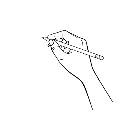 Black and White Hand holding a red pencil in a white background For assembly Or create teaching material for mothers who do Homeschool And teachers who find pictures for teaching materials such as flashcards or children's books.