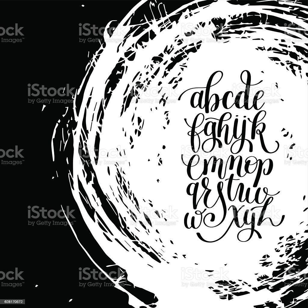 Black And White Hand Lettering Alphabet Design On Brush