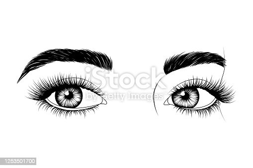Black and white hand-drawn eyes with eyebrows and long eyelashes. Fashion illustration. Vector EPS 10.