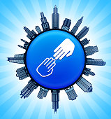 Black and White Hands Touching on Modern Cityscape Skyline Background. The main image depicted is placed on a shiny round button. The button is in the center of the illustration. a detailed 100% vector cityscape skyline is placed around the circumference of the button and includes various office, residential condominium and commercial real estate buildings. There is a blue sky background with a star burst glow rendered behind the buildings. The image is ideal for displaying city life concepts and ideas.