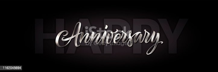 Black and white happy anniversary card. Vector greeting banner with silver text. Vintage 3d lettering. Calligraphy and illustration. Happy anniversary backdrop, party decoration, poster design