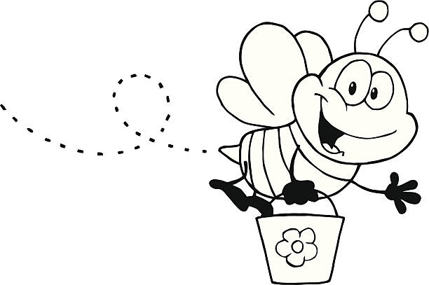 Black and White Happy Bee Holding A Bucket Similar Illustrations: bee clipart stock illustrations