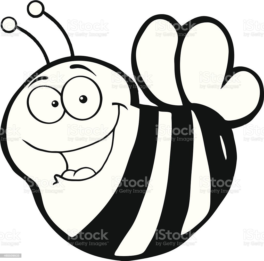 Black and White Happy Bee royalty-free black and white happy bee stock vector art & more images of animal antenna