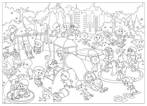 Black And White, Happy children playing in playground