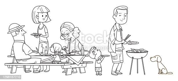 istock Black And White, Happy Family Picnic 1298157210