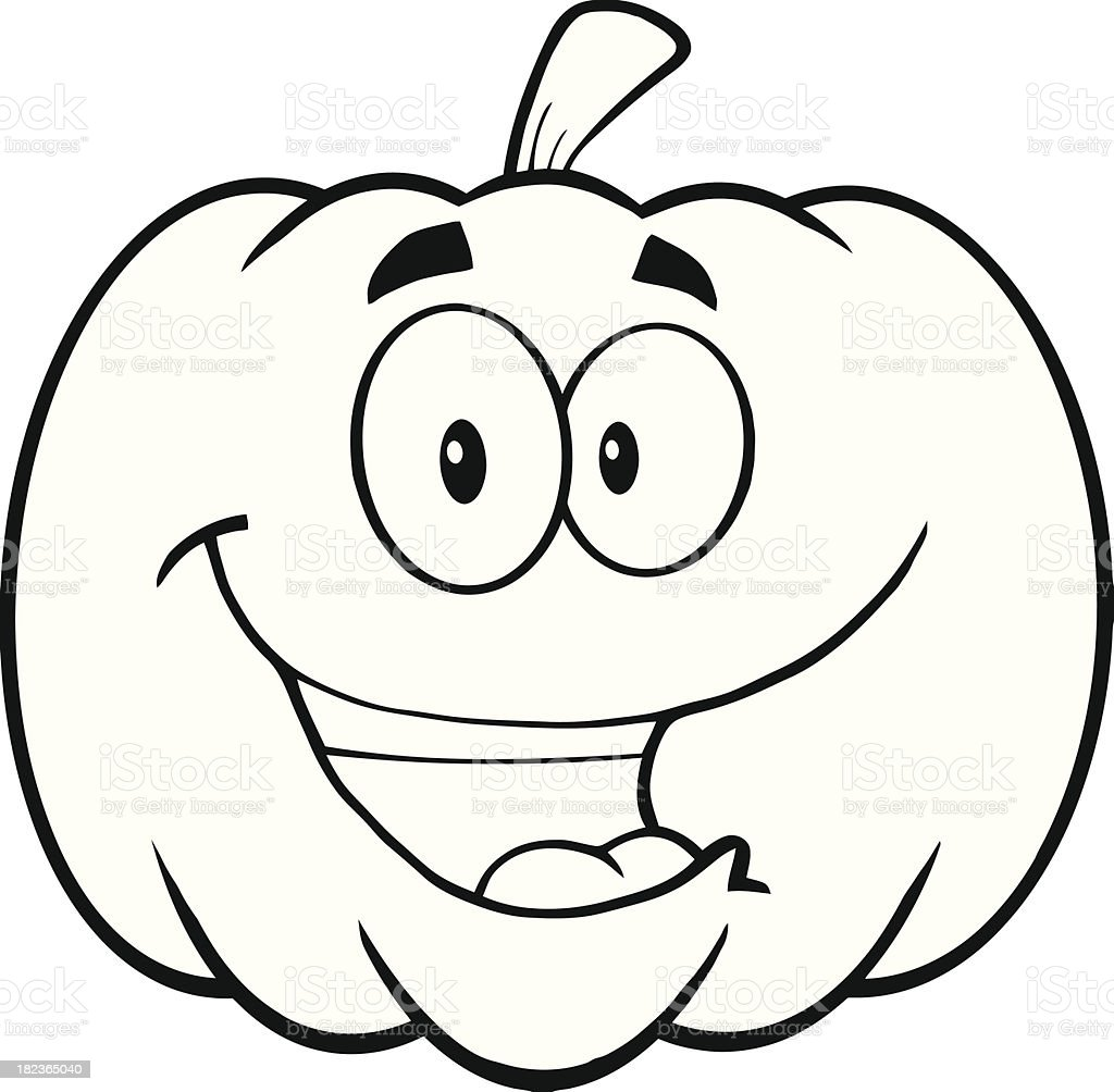 Cartoon Of A Happy Halloween Pumpkin Mascot - Royalty Free ... |Cartoon Black And White Pumkin