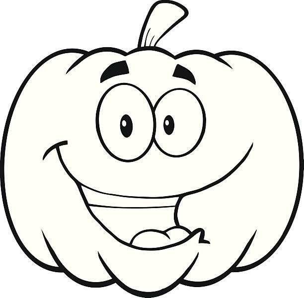 Best Black And White Pumpkin Clipart Illustrations ...