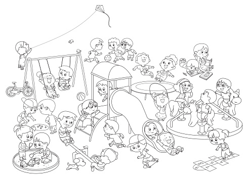 Black And White, Happy kids having fun on the playground