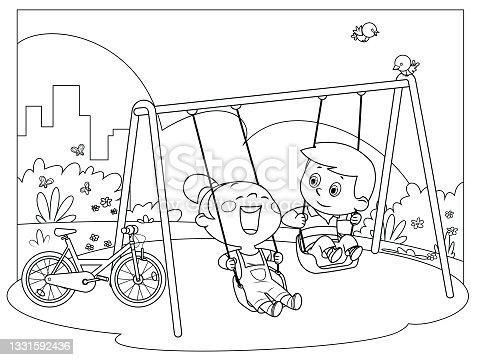 istock Black And White, Happy kids swinging on swings 1331592436