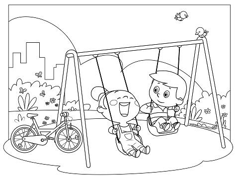 Black And White, Happy kids swinging on swings