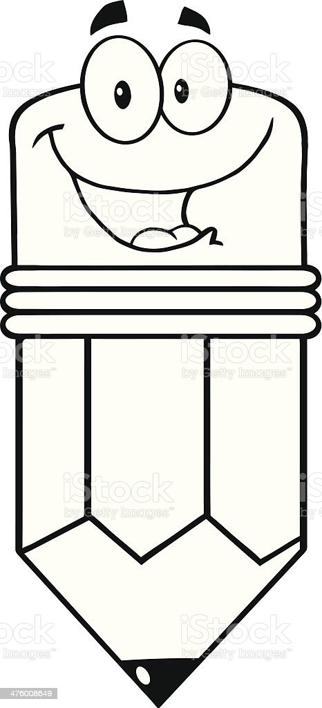 Black And White Happy Pencil Cartoon Character Stock ...