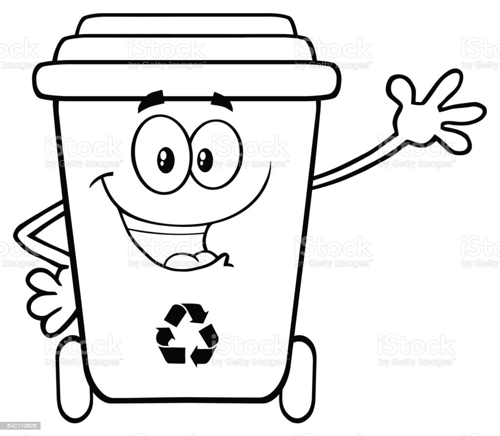 Black and white happy recycle bin cartoon character waving for greeting illustration