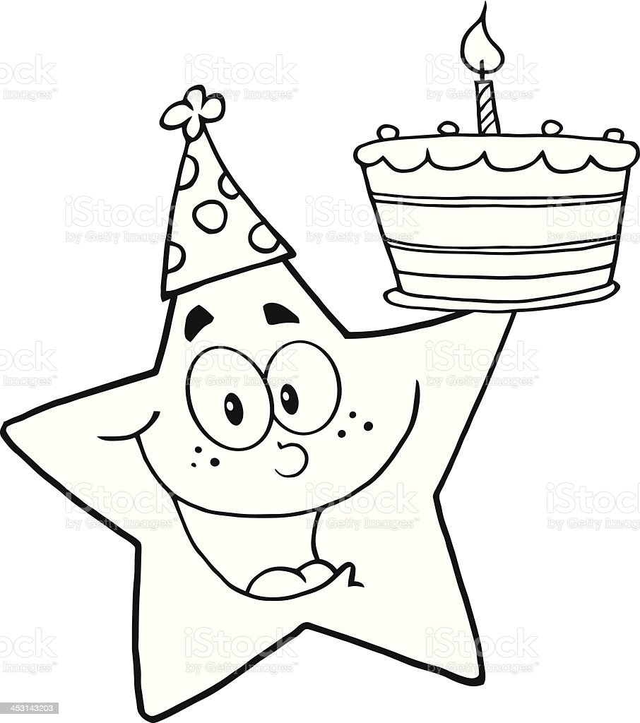 Black And White Happy Star Holding A Birthday Cake Royalty Free