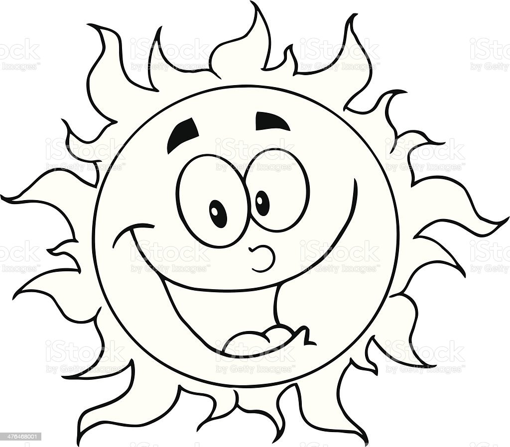 Black And White Happy Sun Cartoon Character Stock Illustration