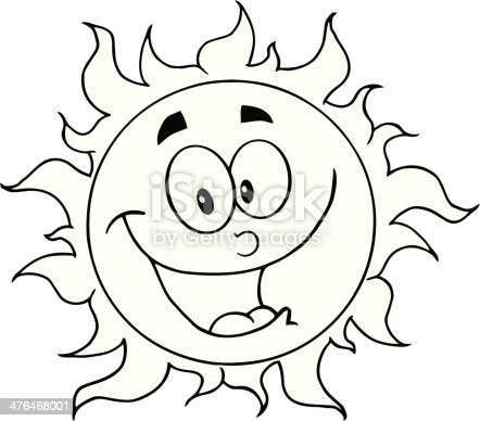 Black And White Happy Sun Cartoon Character Stock Vector