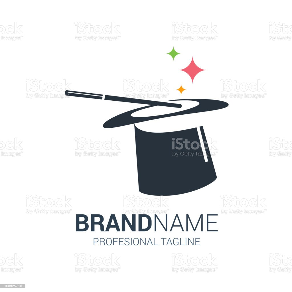 Black and white Hat Logo with magic star