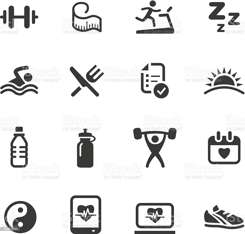 Black and white health and fitness icons vector art illustration