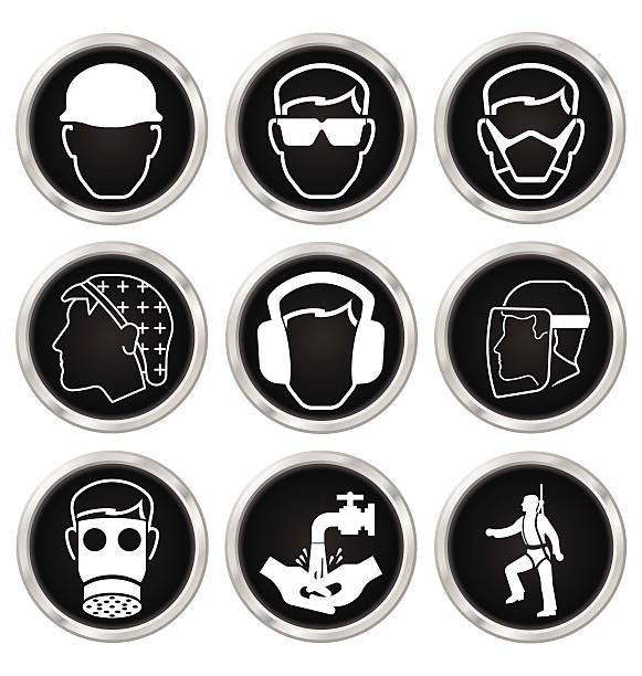 Black and white health and safety icon set Black and white construction manufacturing and engineering health and safety related icon set isolated on white background hair net stock illustrations