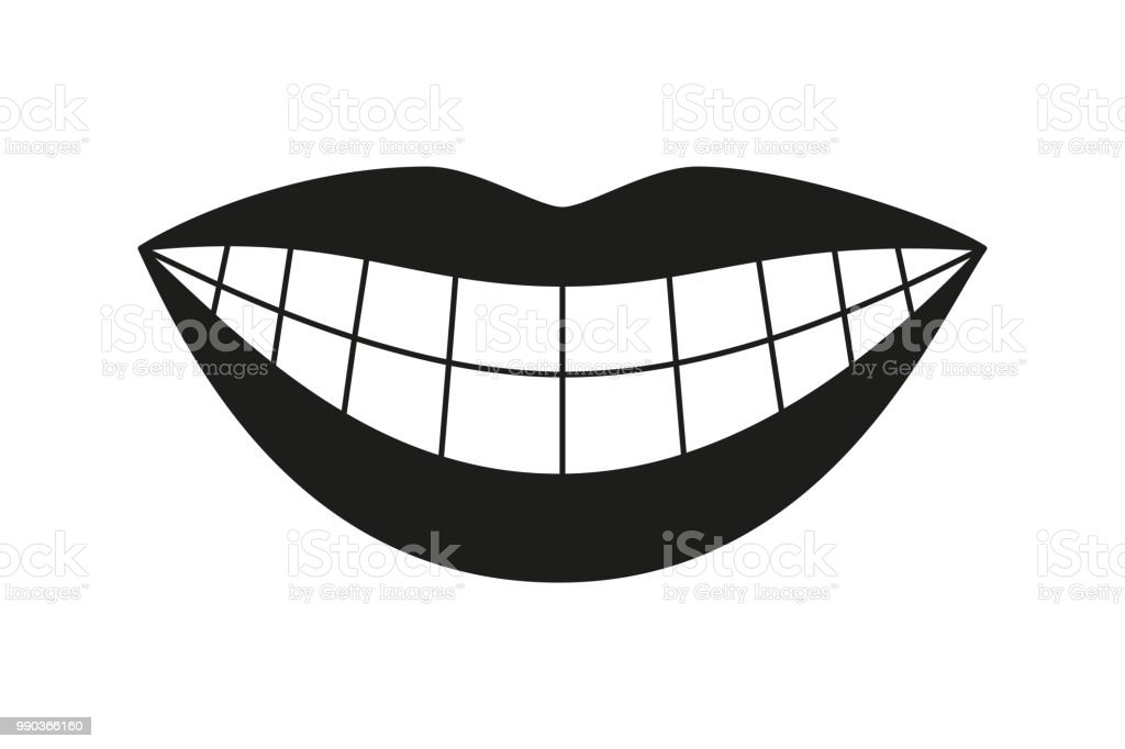 Black and white healthy woman smile silhouette vector art illustration