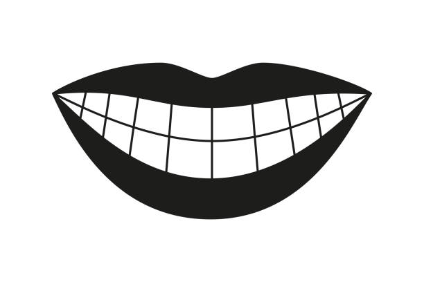 black and white healthy woman smile silhouette - toothy smile stock illustrations