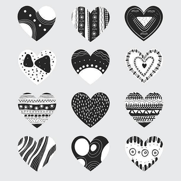 ブラックとホワイトのハート - 休日/季節ごとのイベント点のイラスト素材/クリップアート素材/マンガ素材/アイコン素材