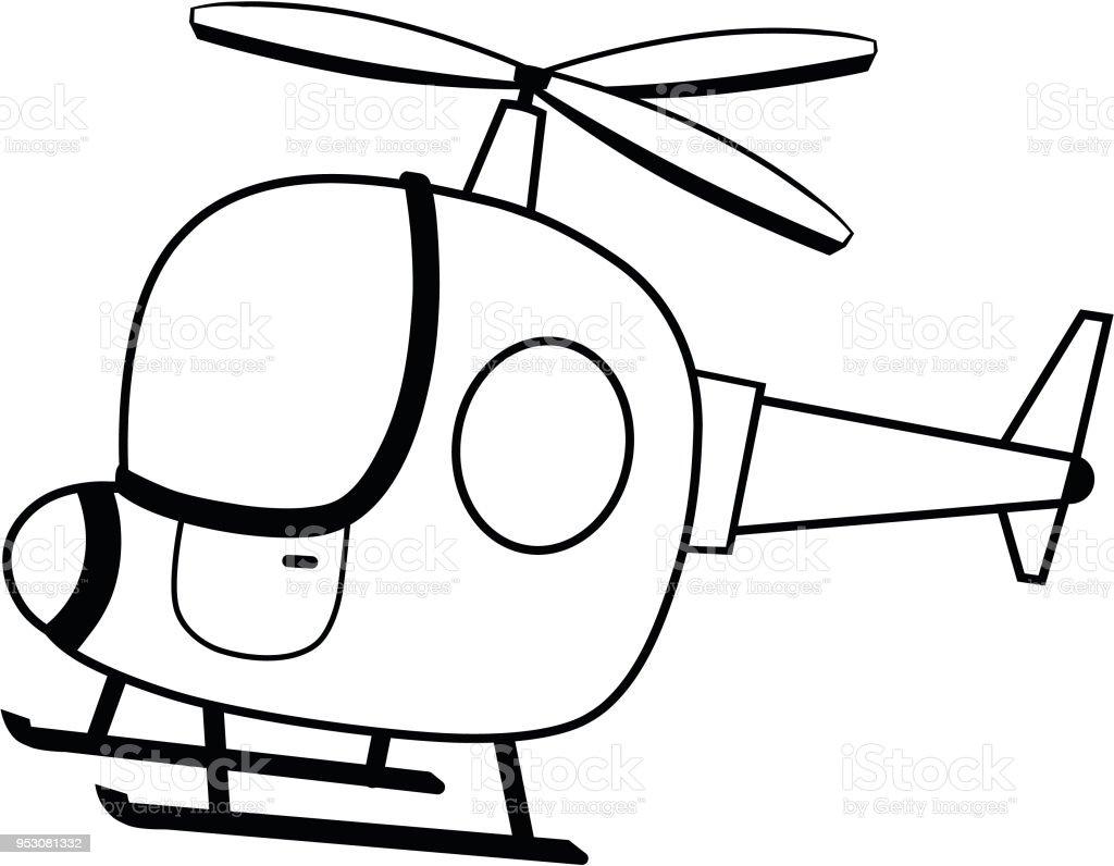 Ilustración de Ilustración De Vector De Helicóptero Blanco Y Negro y ...