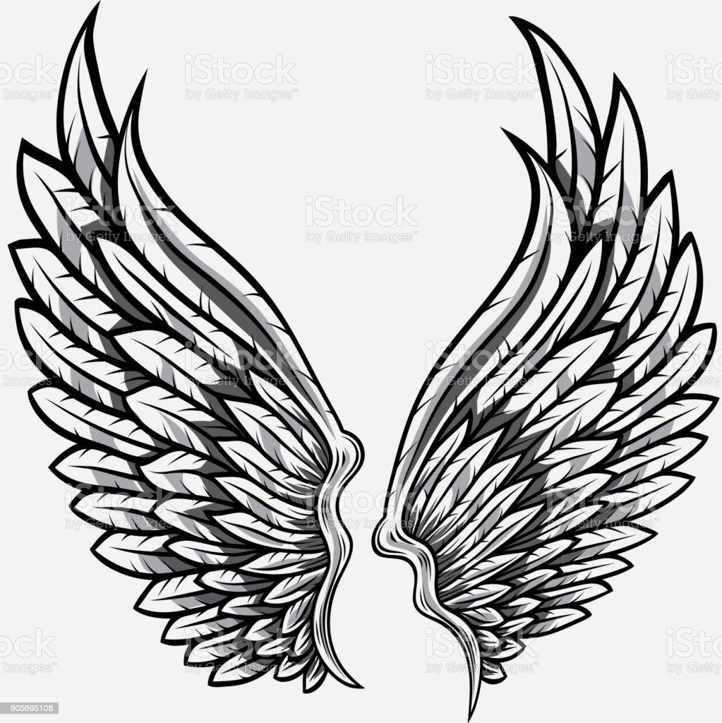 Black and white heraldic wings