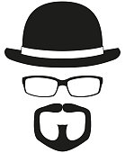 Black and white hipster avatar silhouette set. Bowler hat, glasses, goatee moustache and beard. Fashion vector illustration for certificate sticker, stamp, icon, label, icon, poster, patch, banner