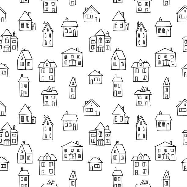 bildbanksillustrationer, clip art samt tecknat material och ikoner med svart och vitt hem - bebyggelse