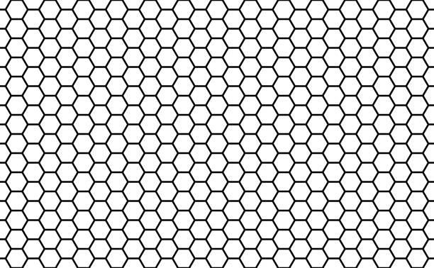 Black and white honey hexagonal cells seamless texture. Mosaic or speaker fabric shape pattern. Honeyed comb grid texture and geometric hive hexagonal honeycombs. Vector illustration vector art illustration