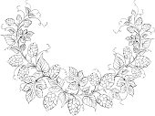 Black and white hop garland sketch