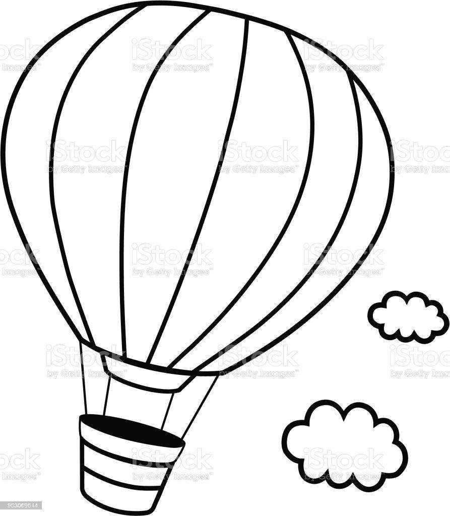 Siyah Ve Beyaz Sıcak Saç Balon Vektör çizim Stok Vektör Sanatı