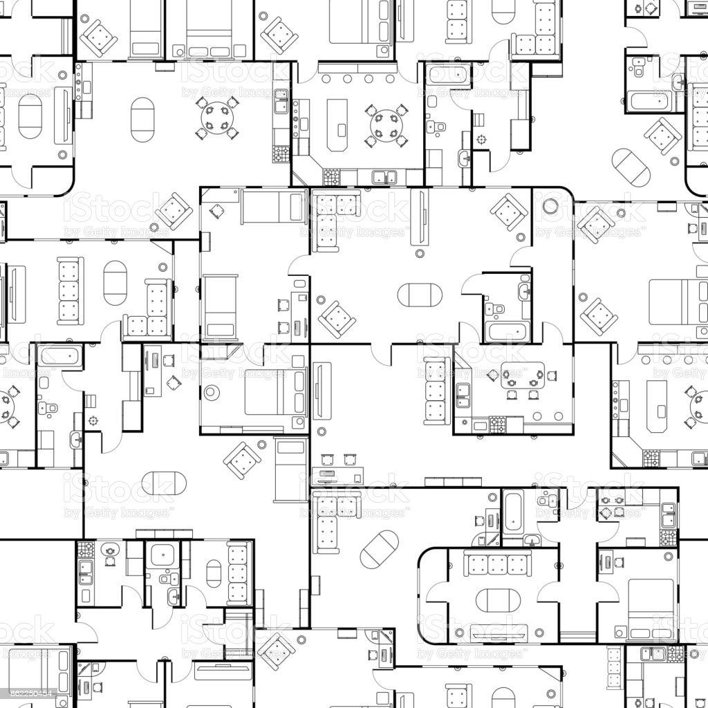 Schwarz Weiss Haus Grundriss Mit Innendetails Nahtlose Muster Auf Lizenzfreies