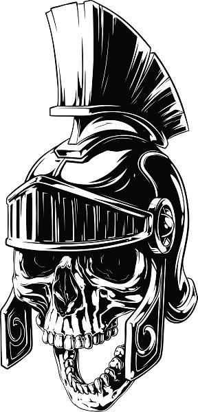 Black and white human skull in roman helmet