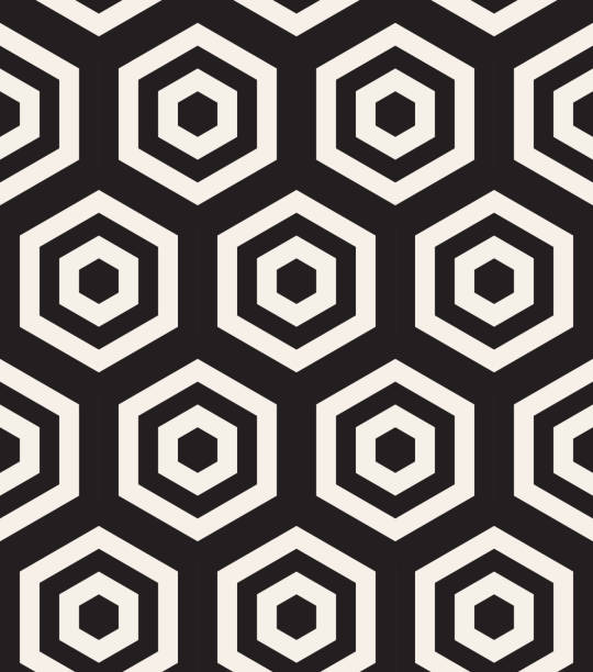 stockillustraties, clipart, cartoons en iconen met zwart-wit hypnotische achtergrond. abstracte naadloze patroon. vectorillustratie - achthoek