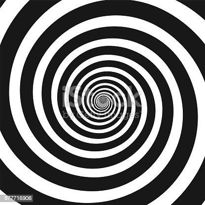 istock Black and white hypnotic spiral 977716906