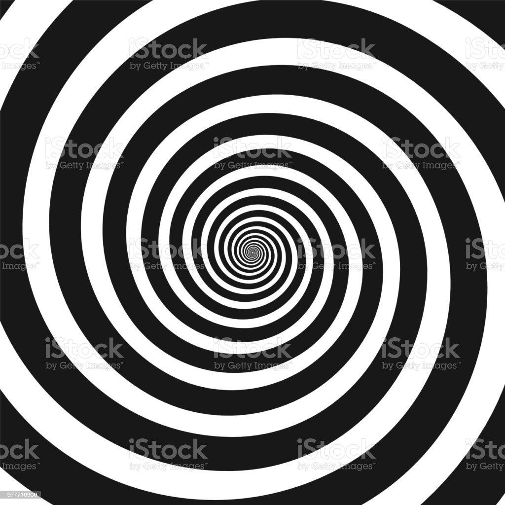 Black and white hypnotic spiral vector art illustration
