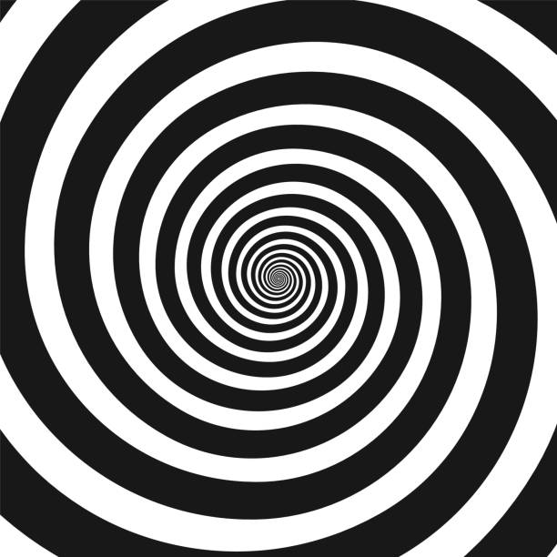 black and white hypnotic spiral - swirl pattern stock illustrations