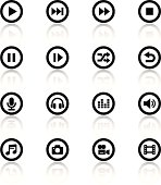 Black and white icon set for media