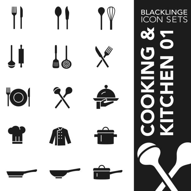 Black and White icon set of cooking and kitchen 01 High quality black and white icons of cooking and kitchen. Blacklinge are the best pictogram pack unique design for all dimensions and devices. Vector graphic, logo, symbol and website content. serving dish stock illustrations