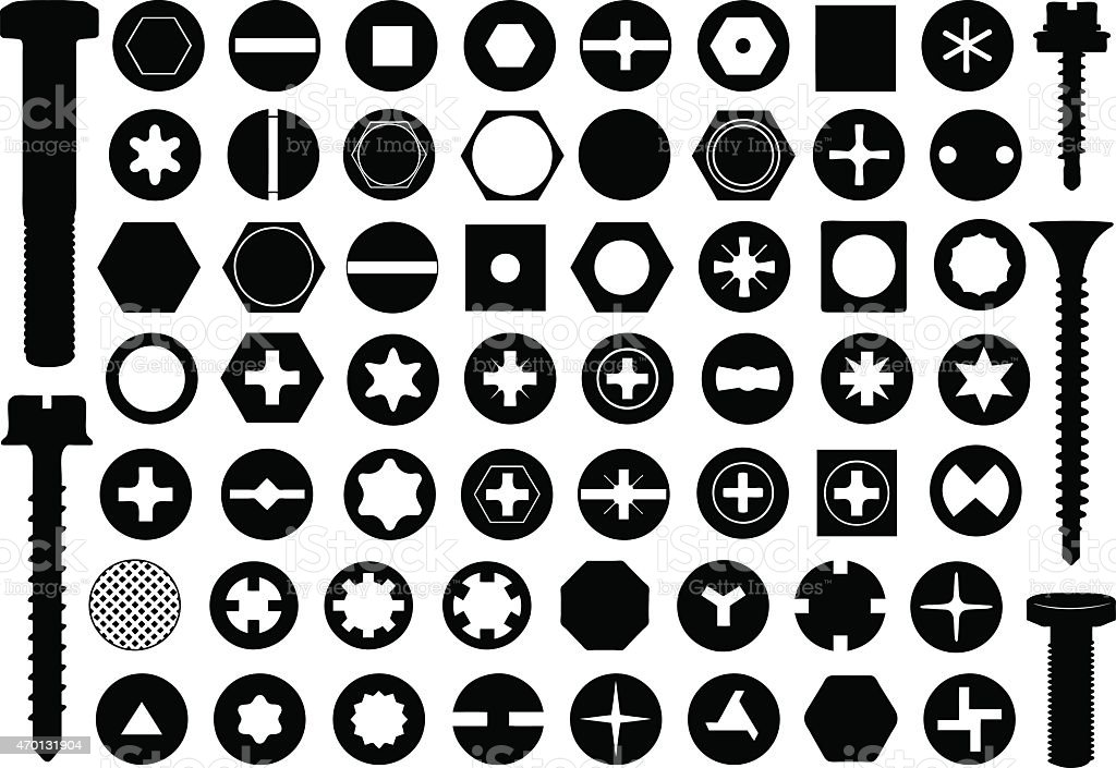 Black and white icon set of different screw heads vector art illustration