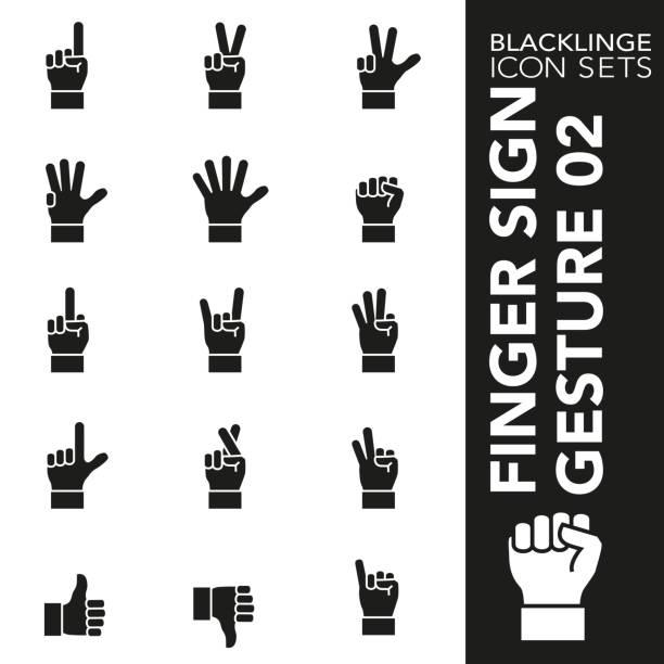 ilustraciones, imágenes clip art, dibujos animados e iconos de stock de conjunto de iconos en blanco y negro de finger sign y hand gesture 02 - middle finger
