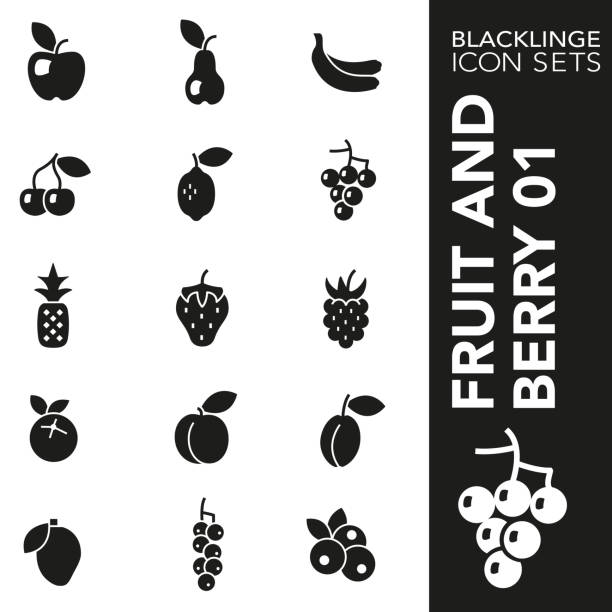 Black and White icon set of Fruit and Berry 01 High quality black and white icons of fruits and healthy food. Blacklinge are the best pictogram pack unique design for all dimensions and devices. Vector graphic, logo, symbol and website content. black currant stock illustrations