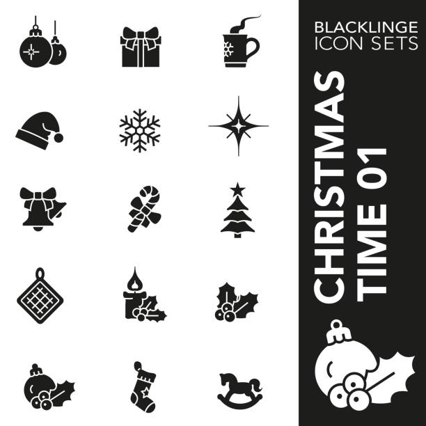 schwarz-weiß-symbol-set von santa cluse und weihnachtszeit und 01 - weihnachtsmarkt stock-grafiken, -clipart, -cartoons und -symbole