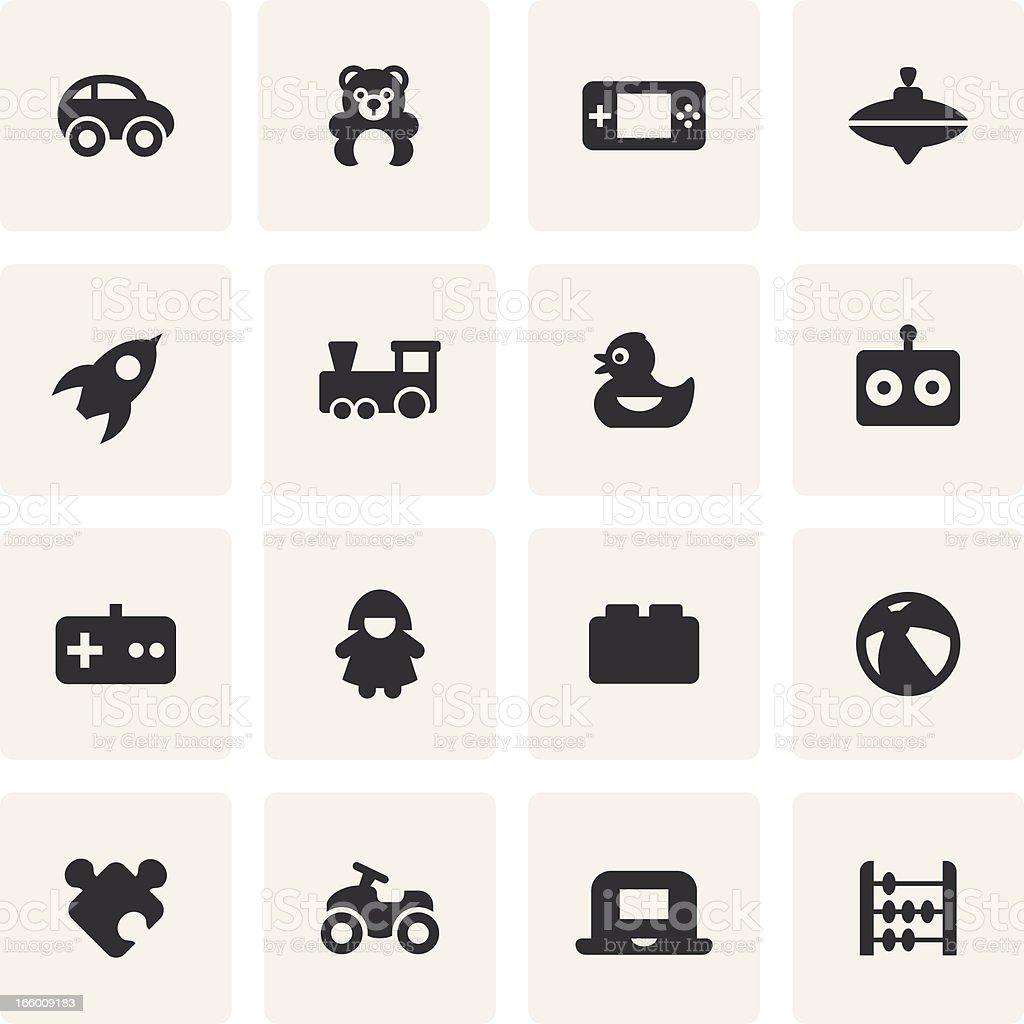 Black and white icons of common toys vector art illustration