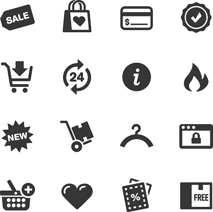 Black and white icons relating to shopping