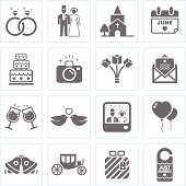 Black and white icons representing weddings